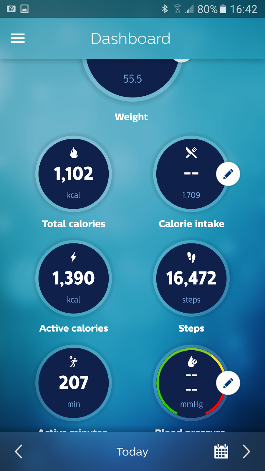 Daily step screen