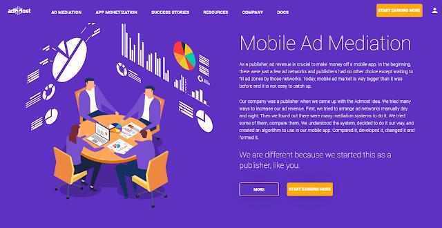Admost Website Homepage Screnshot