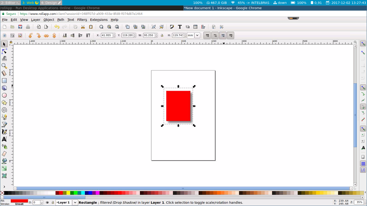 Inkscape 0.92 rodando no RollApp