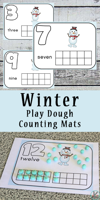 Kindergarten Worksheets and Games: Winter Playdough Counting Mats