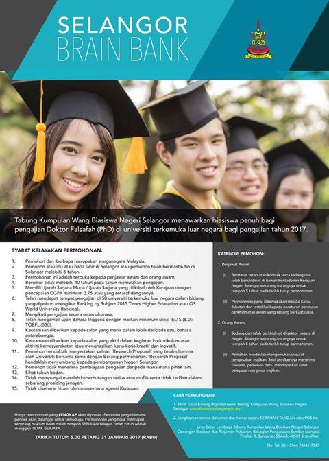 Biasiswa Program Selangor Brain Bank 2017