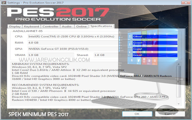 Spek Minimum PES 2017