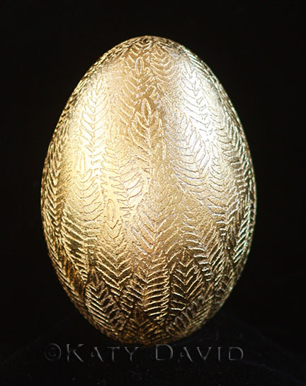"©Katy David 2016, ""Gold Leaf"" Etched goose egg, gold leaf. Available at camibaart.com"