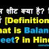 बैलेंस शीट क्या है? हिंदी में [What is Balance Sheet? in Hindi]
