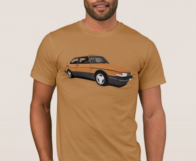 Saab 900 Turbo 16  Aero t-shirt orange classic car