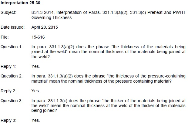 ASME B31 3 - Interpretations [2] - PWHT & Preheat Related