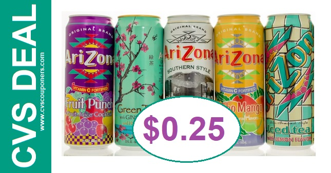 Cheap Arizona Beverages at CVS $0.25 1124-1130