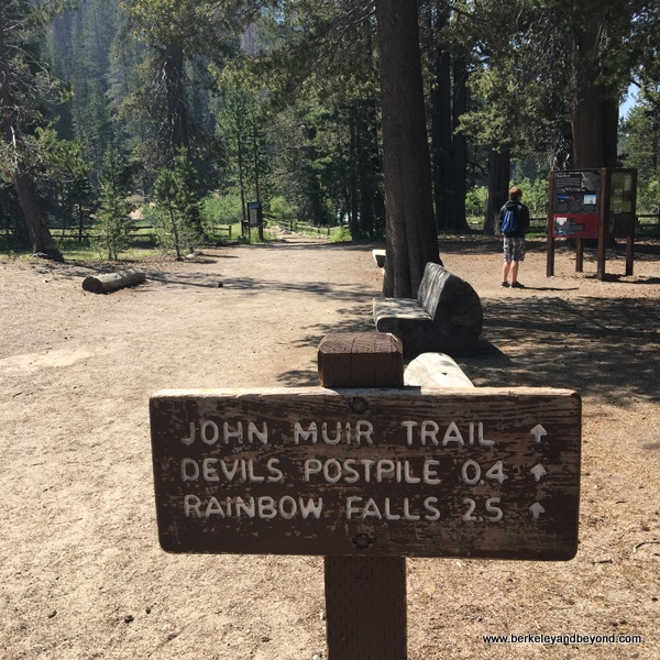 trail sign at Devils Postpile National Monument in Mammoth Lakes, California