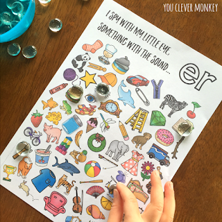 Printable Digraph Activities for /er/ sound - sound mazes in colour and black and white plus I Spy game | you clever monkey