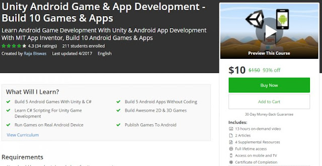 [93% Off] Unity Android Game & App Development - Build 10 Games & Apps|Worth 150$