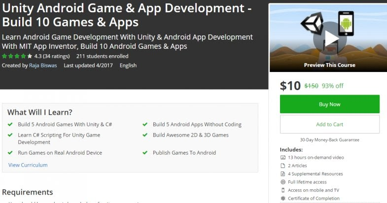 [93% Off] Unity Android Game & App Development
