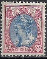 1899 - 1921 Queen Wilhelmina 25 cents
