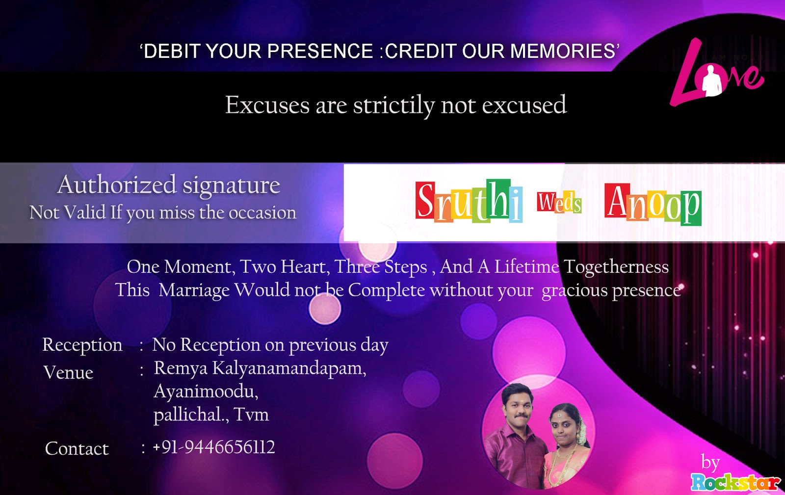 Sreejith rockstar jithu sruthi weds anoop atm style wedding sruthi weds anoop atm style wedding card wedding invitation card design by sreejith rockstar stopboris Choice Image