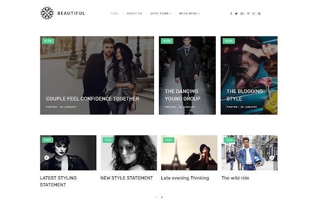 Beautiful Responsive Magazine News Fashions Blogger Template Theme