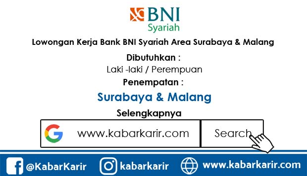 Lowongan Kerja Bank BNI Syariah Area Surabaya dan Malang