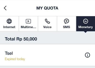 Mendapatkan Monetary di MyTelkomsel