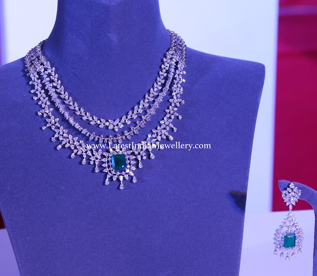 3 Step Bridal Diamond Emerald Set