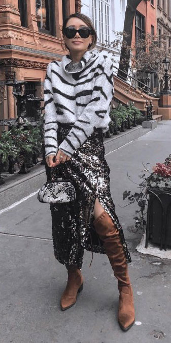 From casual outfits for family reunions to crazy trendy party outfits, we've got your back see these 24 Best Christmas Outfits You Can Shop this Holiday Season.   Sequin long dress + sweater   #christmas #holiday #sequin #sweater