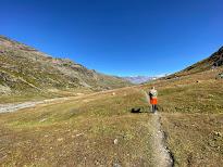 Trail 518 near Bocca di Profa - Bormio 3000 visible on left ridge.