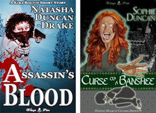 """Two books covers - one with a woman firing guns above the title """"Assassin's Blood"""" the other with a woman screaming and glowing with the title """"Curse of a Banshee"""""""