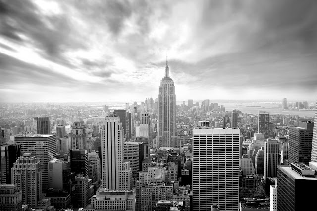 new york tapetti musta valkoinen skyline manhattan