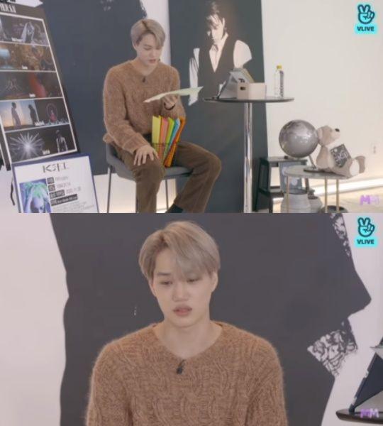 EXO Kai V yayınında hayran mektubunu okuduktan sonra gözyaşlarını tutamadı