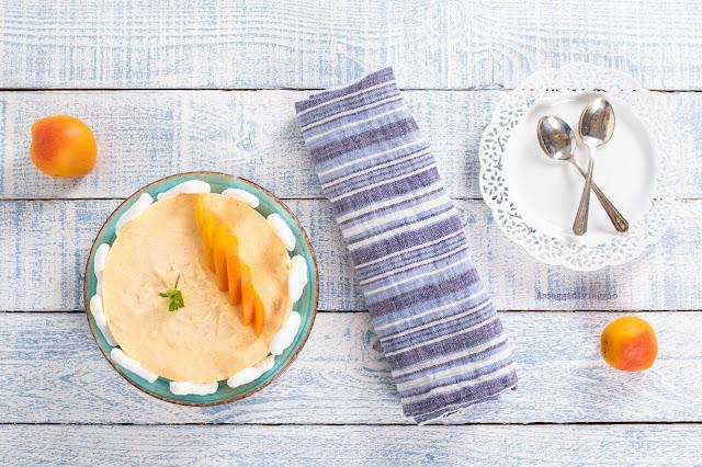 Semifreddo all'albicocca con meringa e salsa al cioccolato