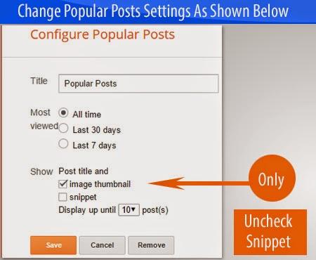 Popular Posts Widget Settings