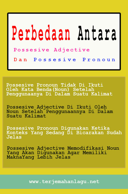Perbedaan Possesive Pronoun Dan Possesive Adjective