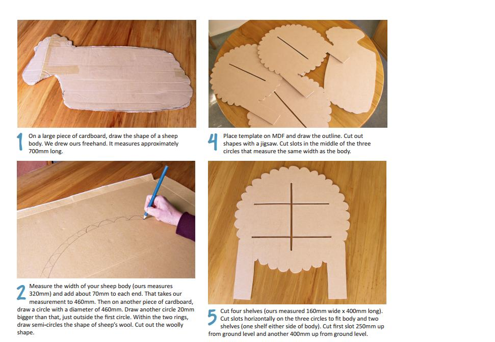 Do it yourself how to make a cardboard shelving sheep for Cardboard sheep template