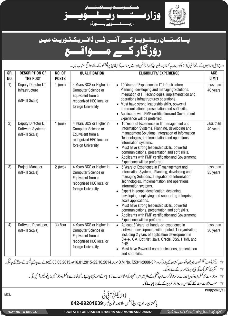 Advertisement for Pakistan Railway Jobs June 2019