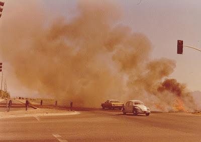 Debris fire on Pima Road