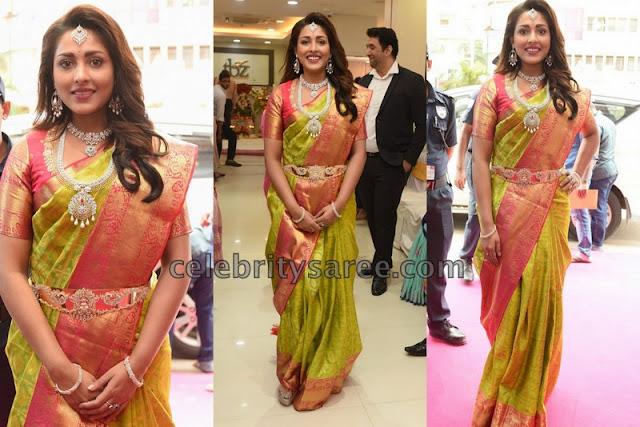 Madhu Shalini Green Silk Saree