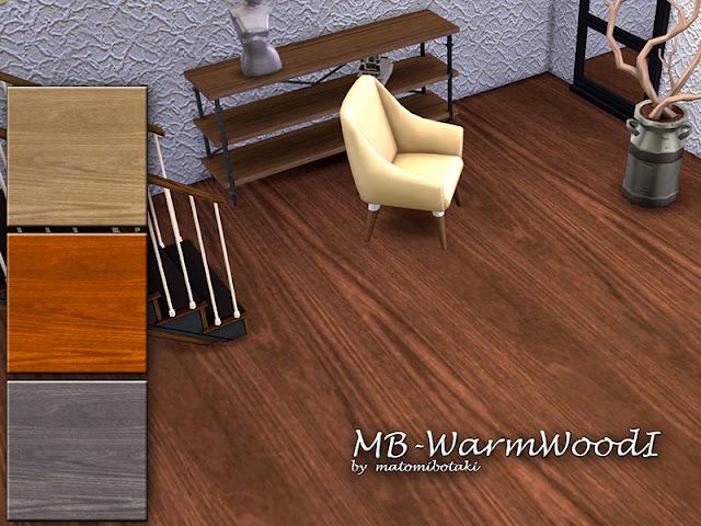 MB-WarmWoodI Винтажный плиточный пол для The Sims 4 Деревянный пол с естественным зерном , поставляется в 4 различных цветовых оттенках, с пользовательским эскизом, требуется только базовая игра. Автор: matomibotaki