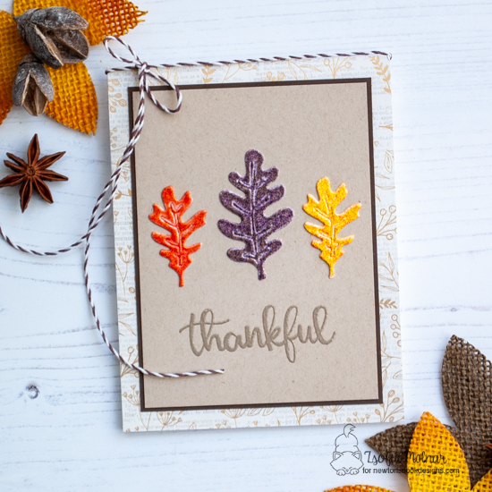Newton's Nook Designs & WOW Embossing Powders Inspiration Week - Fall Leaf card by Zsofia Molnar | Thankful Thoughts Stamp Set and Autumn Leaves Die Set by Newton's Nook Designs with embossing powder by WOW! #newtonsnook #wowembossing