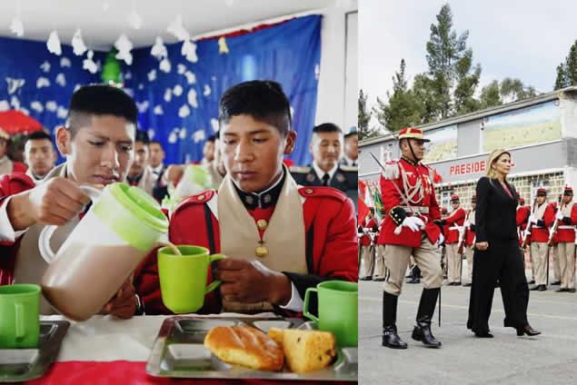 Presidenta Áñez recibe saludo protocolar y comparte desayuno con los Colorados de Bolivia