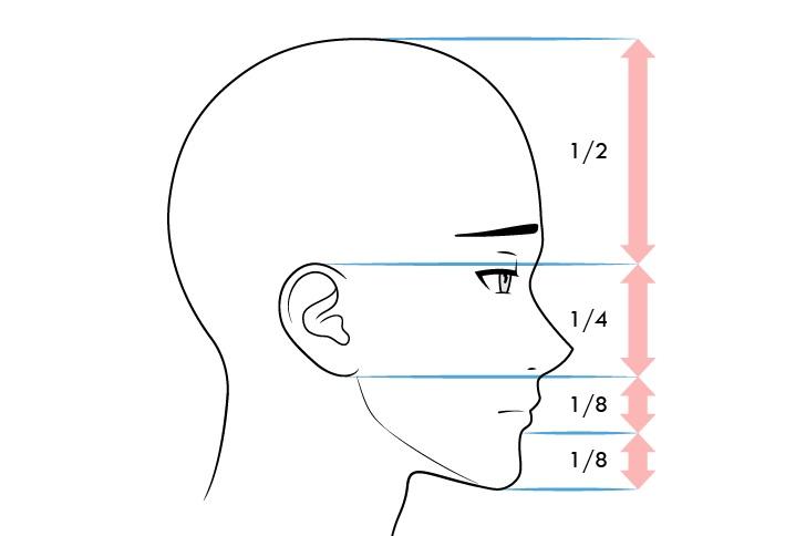 Proporsi wajah pria anime tampilan samping ekspresi kesal