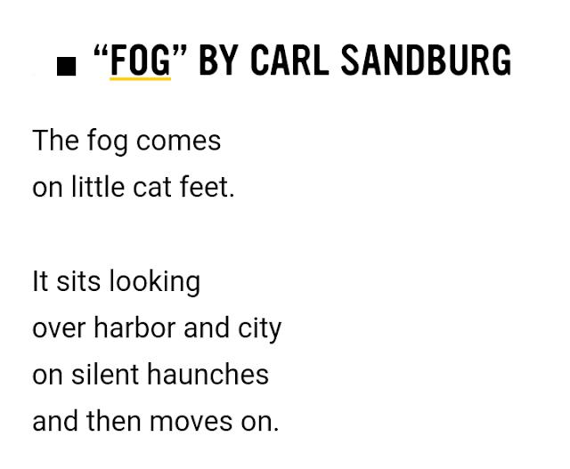 """Fog"" by Carl Sandburg - Examples of Free Verse Poem"