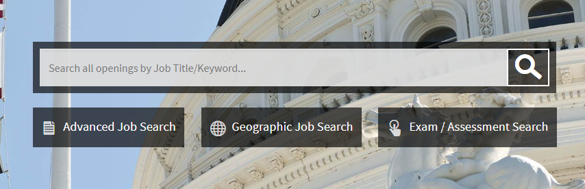 Image of Job Search Box on CalCareers Homepage