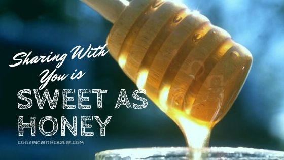 """honey dripping from wooden honey dipper with saying """"sharing with you is sweet as honey"""""""