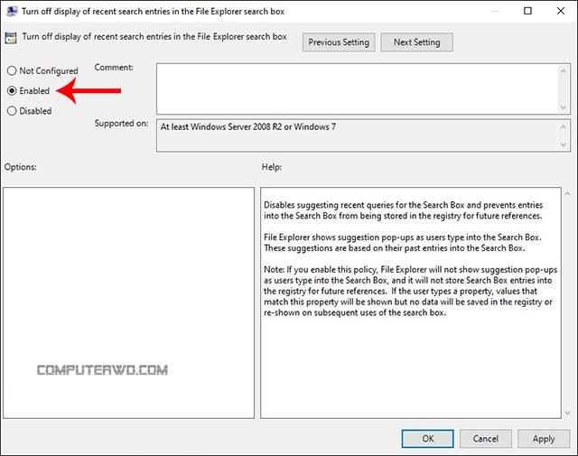 كيفية التخلص من سجل كلمات البحث داخل نظام ويندوز computer-wd عالم الكمبيوتر إلغاء تفعيل سجل البحث بويندوز disable Search Group Policy Editor Disabling