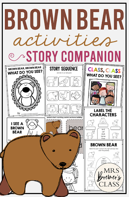 Brown Bear  book study unit with Common Core aligned literacy companion activities, a craftivity, and a class book for Kindergarten and First Grade
