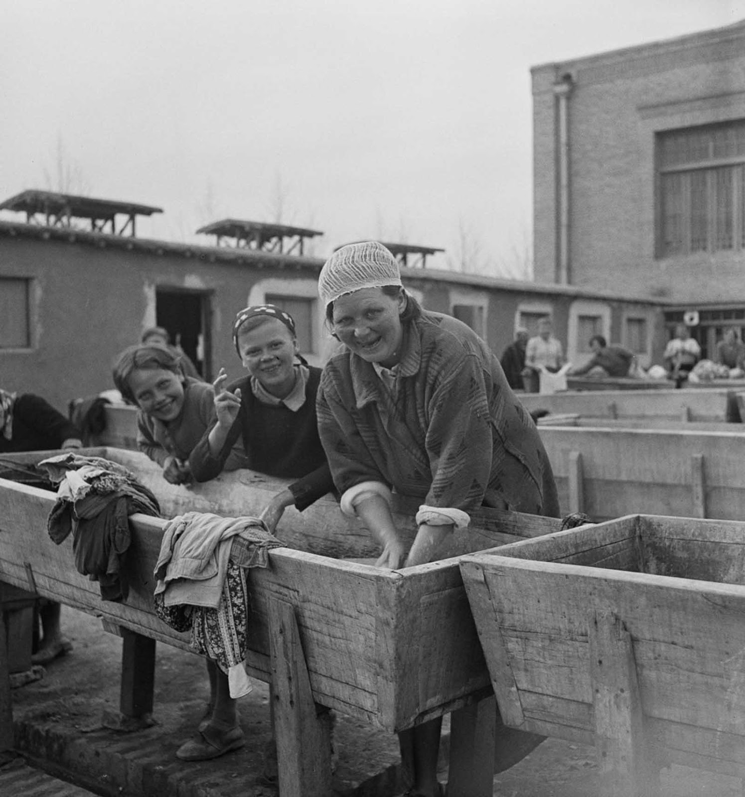 Polish women doing laundry at the camp.