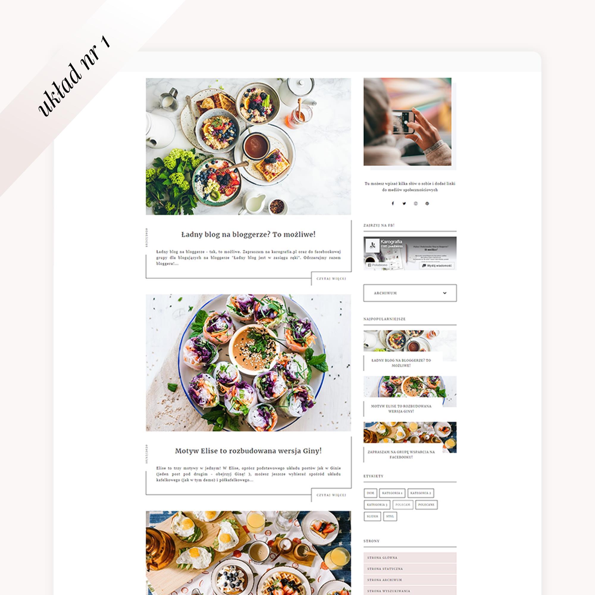 multi motyw na bloggera Elise - układ postów nr 1