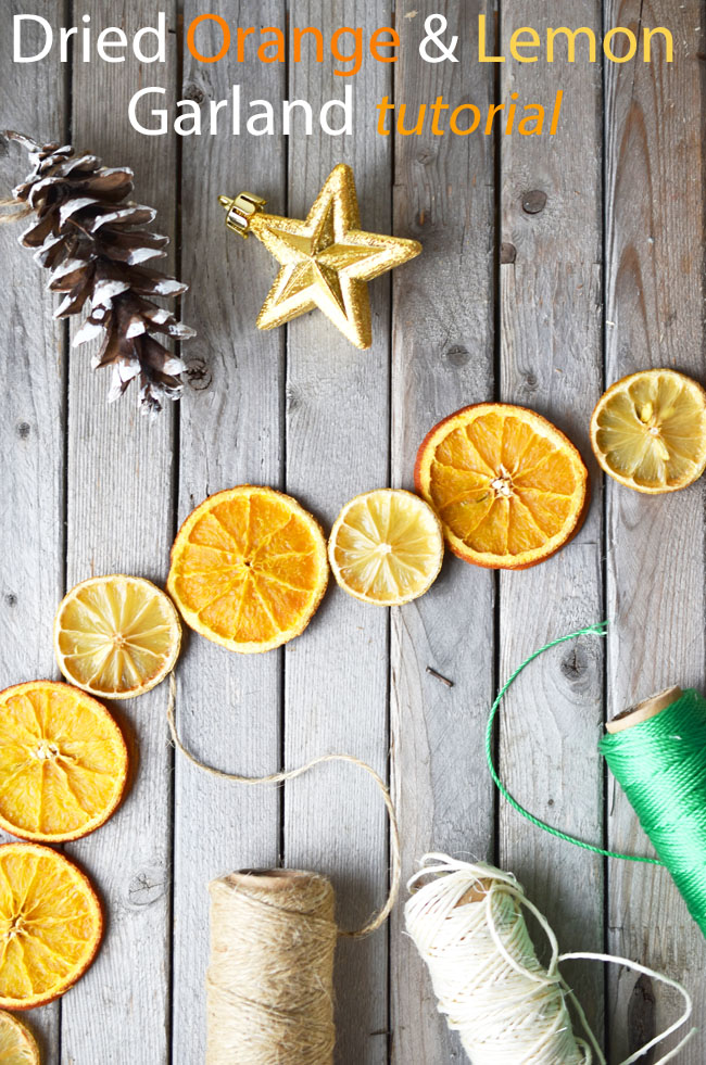 How To make a garland with dried oranges and lemons. A lovely natural touch of beauty for your holiday decor. Easy and relaxing to do. #Christmas #crafts #garland #tutorial #diy #decor