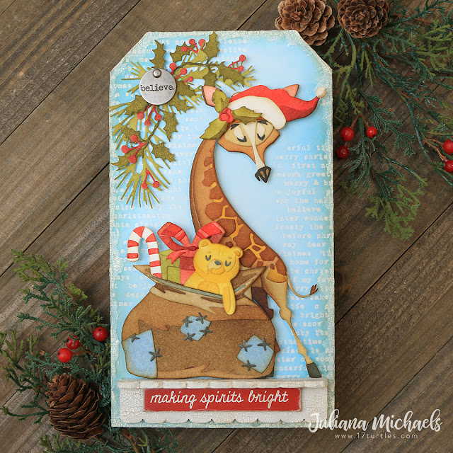 Making Spirits Bright Christmas Tag by Juliana Michaels featuring Tim Holtz Sizzix Gertrude and Toyland Thinlits