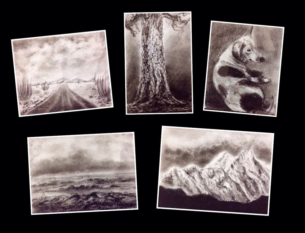 Small charcoal paintings done during a Charcoal Workshop by Manju Panchal