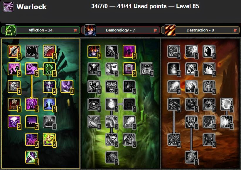 Wow Best Pvp Pve Talent Leveling Guide Pvp Affliction Warlock Talent Guide Glyphs Catcalysm 4 3 4