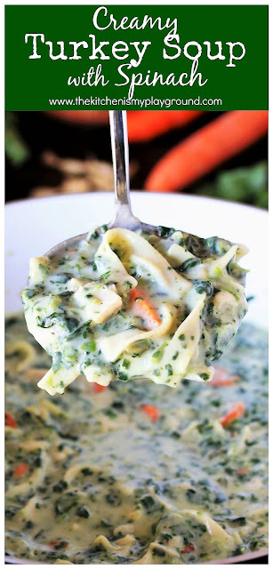 Creamy Turkey Soup with Spinach ~ One rich, hearty, flavor-loaded soup recipe that's perfect for enjoying that leftover turkey! #turkeysoup #leftoverturkey #turkeyleftovers  www.thekitchenismyplayground.com