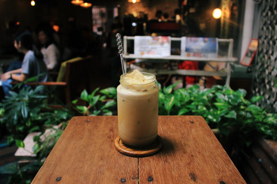 Iced gula melaka coffee at daily fix cafe melaka